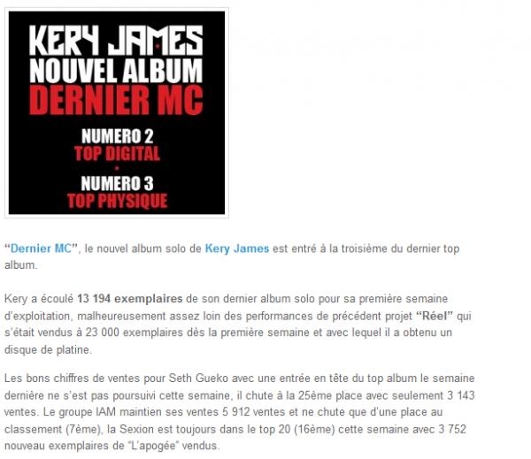 Kery James à la 3ème place du Top Album avec Dernier MC (NEWS)