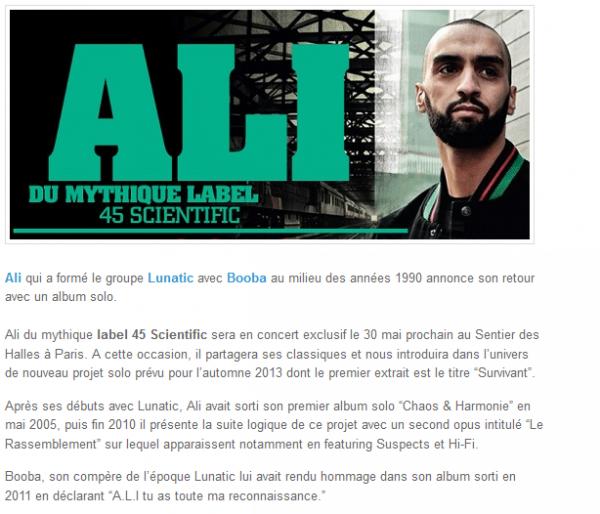 Ali (ex Lunatic avec Booba) est de retour avec un album solo (NEWS)