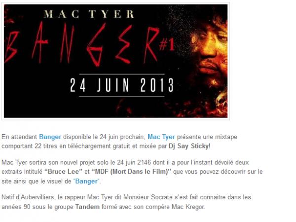 Mac Tyer présente sa mixtape gratuite en attendant Banger (NEWS)