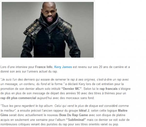 Kery James : l un des derniers qui essaie de ramener le rap à ses origines (NEWS)