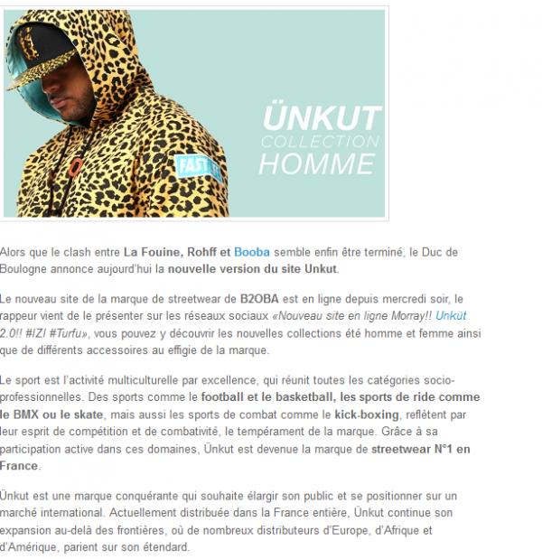 Booba : le nouveau site d Unkut en ligne ! (NEWS)