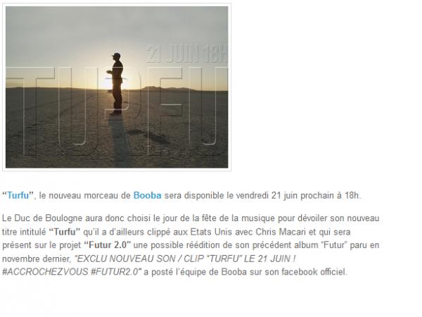 Turfu, Booba annonce la mise en ligne pour le 21 juin (NEWS)