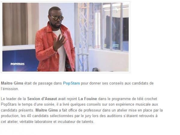 Maitre Gims donne ses conseils aux candidats de PopStars (NEWS)
