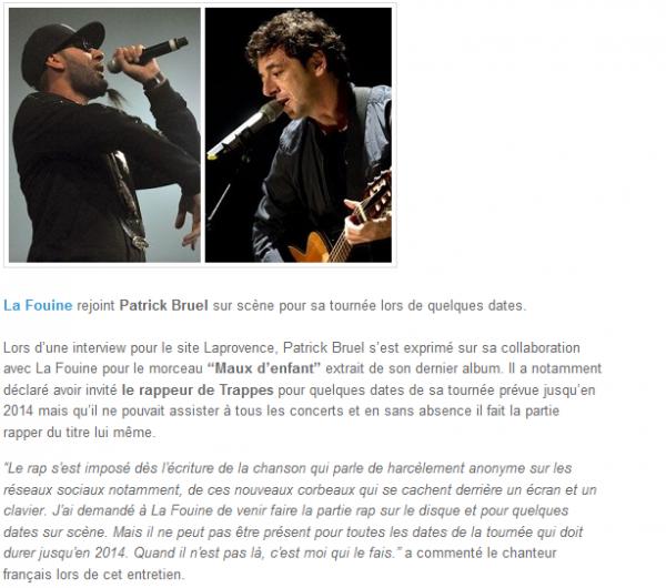 La Fouine rejoint Patrick Bruel sur scène pour sa tournée (NEWS)
