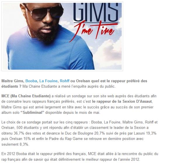 Maitre Gims, Booba, La Fouine, Rohff, quel est le rappeur préféré des étudiants (NEWS)