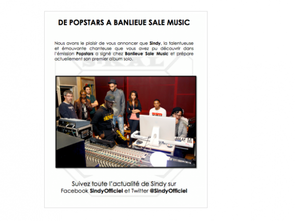 Sindy de Popstars signe chez Banlieue Sale Music de La Fouine (NEWS)