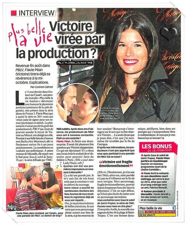 xxxxxxFlavie Péan alias Victoire s'explique sur la mort de son personnage.