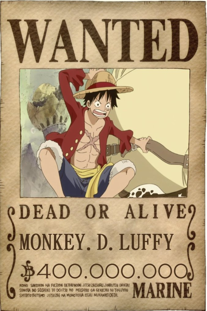 Monkey D Luffy - Mise à prix 400 000 000 de Berry