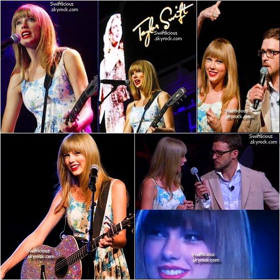 """Taylor a chantée au """" Walmart Shareholder """" à Fayetteville, en compagnie de Justin Timberlake,qui l'a interviewé ! Top ou Flop pour sa tenue ?"""