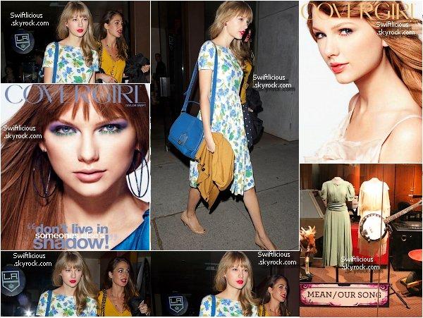 """♦ Apperances : 7 Juin 2012 , Taylor à été vue à BrentWood ! + Nouvelles Affiches de Taylor pour la marque """" CoverGirl """" Ainsi que plusieurs photos du hall de la gloire country,ou on peux voir les tenues portait par la belle lors de ses concerts ♥ ! Top ou Flop ? Avez vous une tenue préfère ?"""