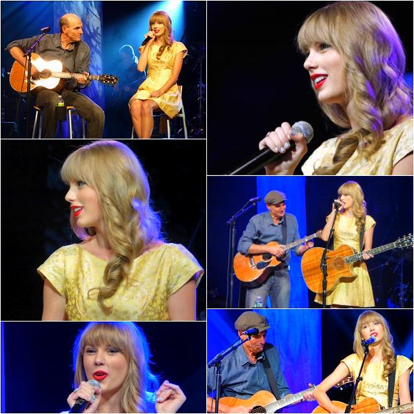 """♦ 2 Juillet 2012 : Taylor a fait une apparence au concert de  James Taylor  dans le Massachusetts ! Ensemble ils ont chantés : """"Fire and Rain,"""" """"Ours,"""" and """"Love Story""""  Top ou Flop ?"""
