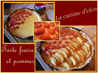 Tarte aux fraises et pommes caramélisés