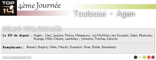 TOP 14 : 4ème journée : TOULOUSE - AGEN
