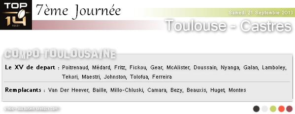Samedi 21 Septembre 2013 : Stade-Toulousain - Castres Olympique