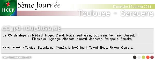 Dimanche 12 Janvier 2014 : Stade-Toulousain - Saracens
