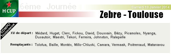 Samedi 18 Janvier 2014 : Zebre - Stade-Toulousain