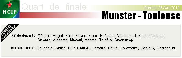Samedi 04 Avril 2014 - Quart de finale - Munster - Stade-Toulousain