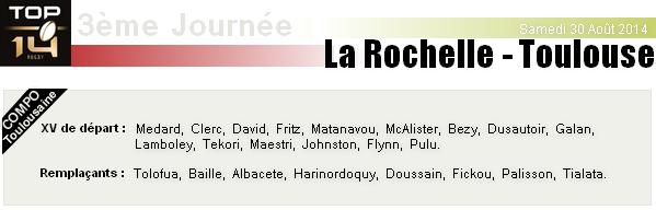 TOP 14 - 3ème Journée : La Rochelle - Stade Toulousain