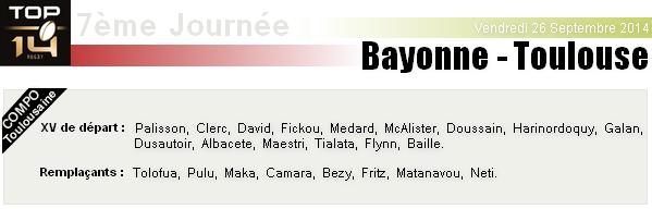 TOP 14 - 7ème Journée : Bayonne - Stade-Toulousain