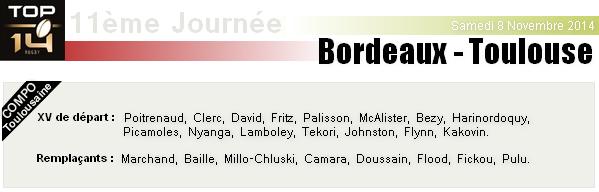 TOP 14 - 11ème Journée : UBB - Stade-Toulousain