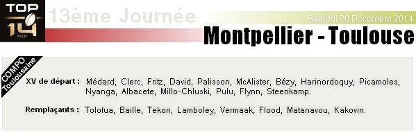 TOP14 - 13ème Journée : Montpellier - Stade-Toulousain