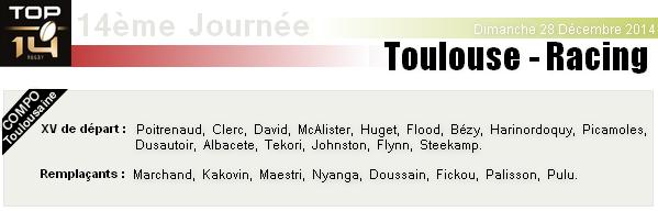 TOP 14 - 14ème Journée : Stade Toulousain - Racing Métro 92