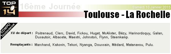 TOP 14 - 16ème Journée : Stade Toulousain - La Rochelle