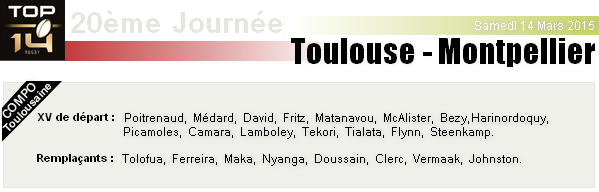 TOP 14 - 20ème Journée : Stade Toulousain - Montpellier