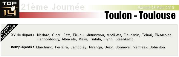 TOP 14 - 21ème Journée : Toulon - Stade Toulousain