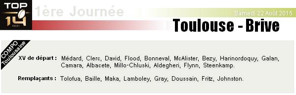 TOP 14 - 1ère Journée : Stade Toulousain - Brive