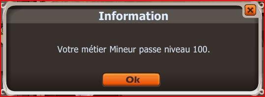 Métier Mineur lvl 100 enfin !!
