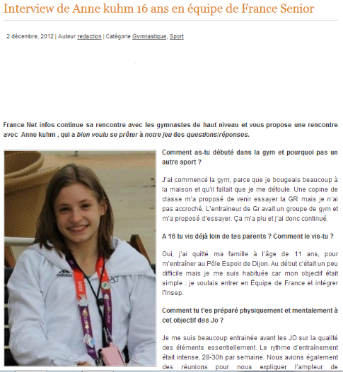 Interview d'Anne par France Net Infos