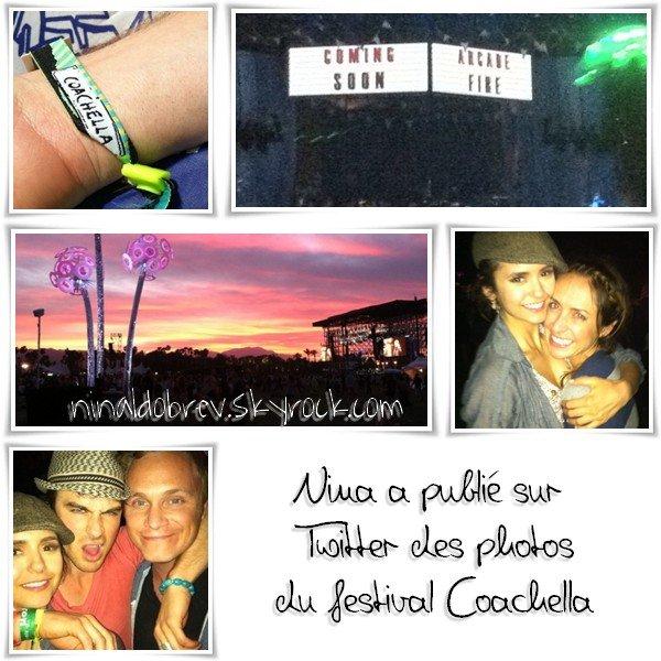 """Le 20/04/2011: Nina a publiée sur son Twitter des photos d'elle avec une fan, de Ian & David et du festival Coachella. Elle a dit sur Twitter: """"C'est ma première fois à Coachella et je peux vous dire que ça me retourne l'esprit! On vient juste de revenir d'Arcade Fire et c'est incroyable! Ils étaient incroyable !"""""""