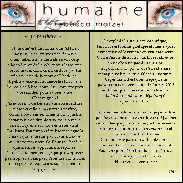 Humaine - Tome 01 de Rebecca Maizel