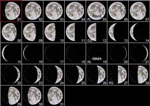 Calendrier lunaire octobre 2017