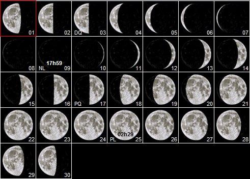 Septembre 2018 calendrier lunaire