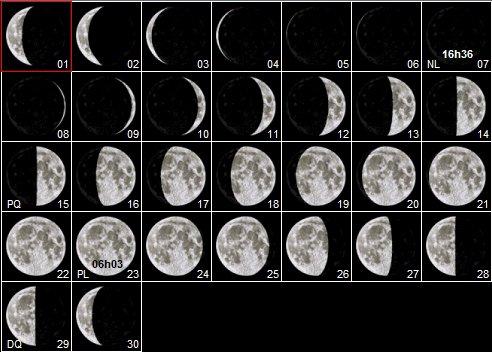 Calendrier lunaire : novembre 2018