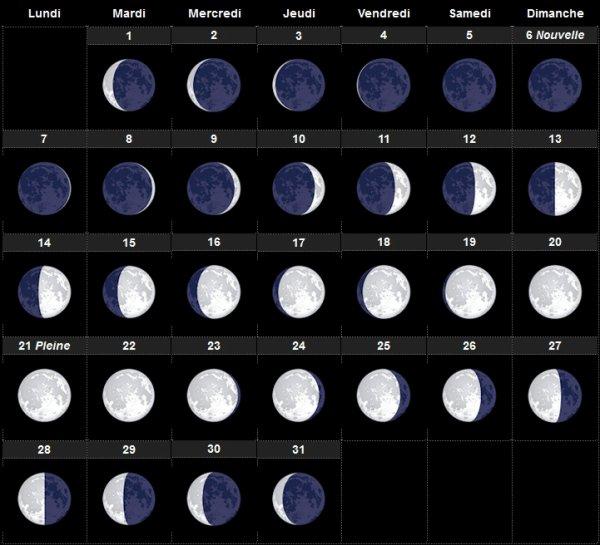 Janvier 2019 calendrier lunaire