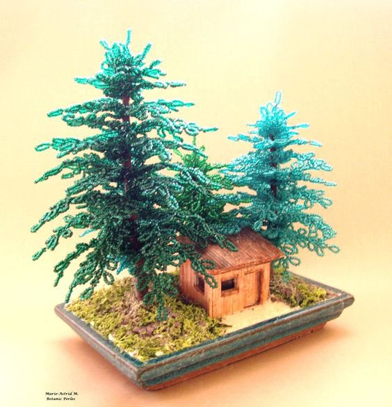 cabane et sapins