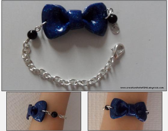 .~ Bracelet Noeud bleu - [ propriété de www.creationPateFIMO.skyrock.com ] .
