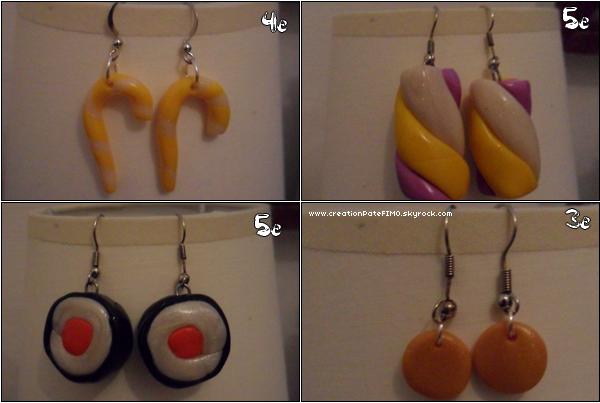 .~ 4 paires de boucles d'oreilles - [ www.creationPateFIMO.skyrock.com ] .