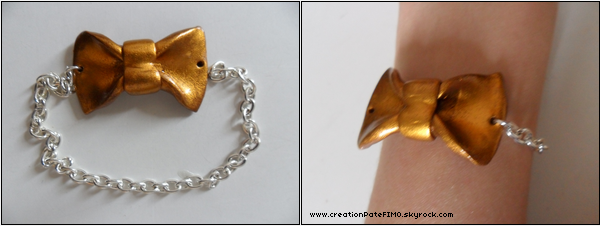 .~ Bracelet Noeud doré - [ www.creationPateFIMO.skyrock.com ] .