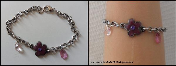 .~ Bracelet Fleur violette - [ www.creationPateFIMO.skyrock.com ] .