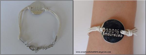 ".~ Bracelet ""100% amoureuse"" - [ www.creationPateFIMO.skyrock.com ] ."