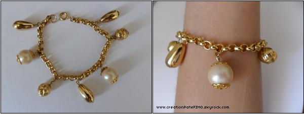 .~ Bracelet breloques dorées - [ www.creationPateFIMO.skyrock.com ] .