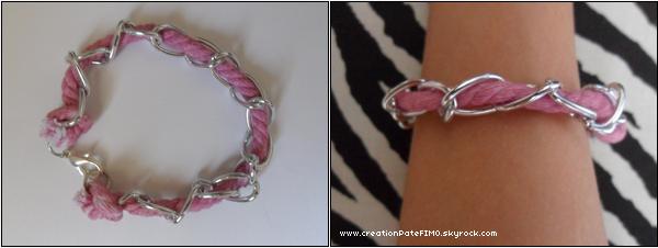 ".~ Bracelet ""Fil rose & chaine"" - [ www.creationPateFIMO.skyrock.com ] ."