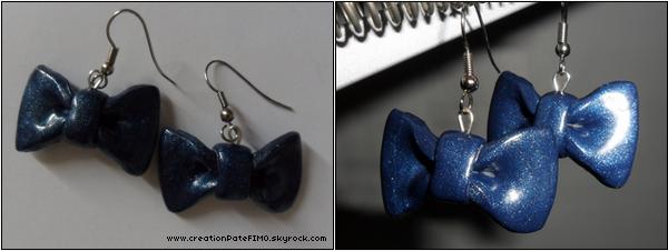 .~ Boucles d'oreille Noeud bleu - [ www.creationPateFIMO.skyrock.com ] .
