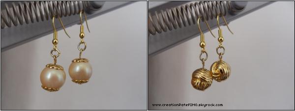 .~ Boucles d'oreilles dorées - [ www.creationPateFIMO.skyrock.com ] .
