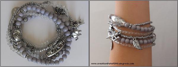 .~ Lot de 6 bracelets gris - [ www.creationPateFIMO.skyrock.com ] .