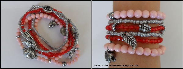.~ Lot de 6 bracelets gris/rose/rouge - [ www.creationPateFIMO.skyrock.com ] .